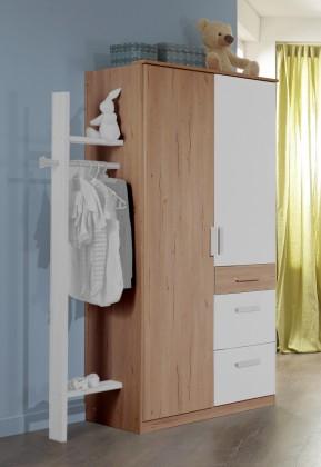 Cariba - Skříň dvoudveřová se zásuvkou (san remo dub, bílá)