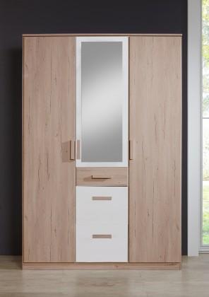 Cariba - Skříň třídveřová se zrcadlem (san remo dub, bílá)