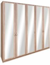 Cassanova - Šatní skříň (5x dveře se zrcadlem)