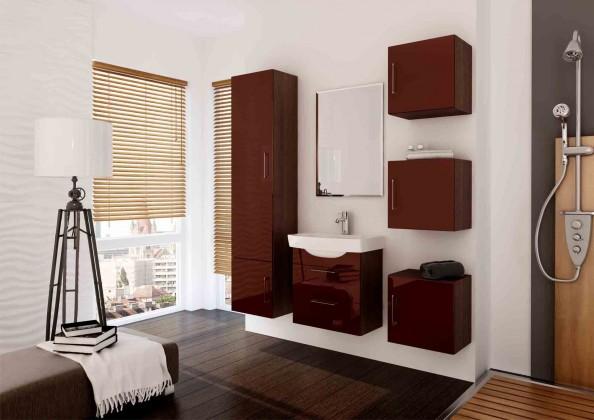 Catania - Koupelnová sestava s umyvadlem (hnědá,boky wenge)