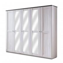 Chateau - skříň, 5x dveře, 3x police (dub bílý/lava černá)