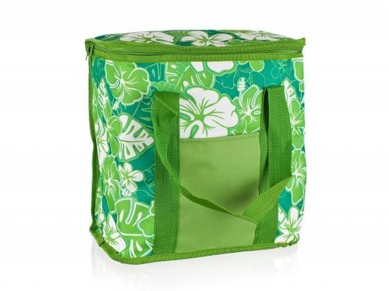 Chladící taška velká (zelená s květy)