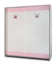 Cinderella - Skříň s posuvnými dveřmi (bílá, růžová)