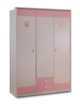 Cinderella - Skříň třídveřová se zásuvkou (bílá, růžová)