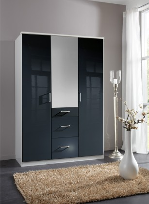 Clack - Skříň, 3x dveře, zrcadlo (černá, bílá)