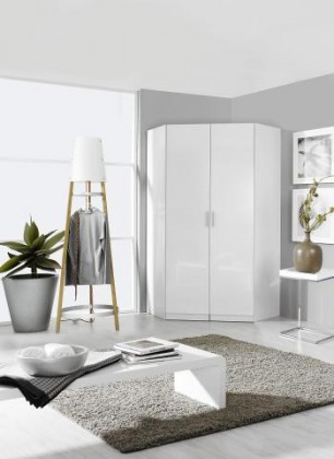 Clack - Skříň rohová, 2x dveře (bílá, bílá)