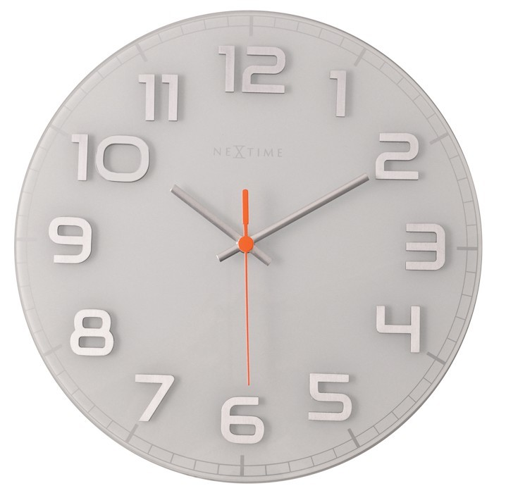 Classy Round - hodiny, nástěnné, kulaté (sklo, nerez, bílé)