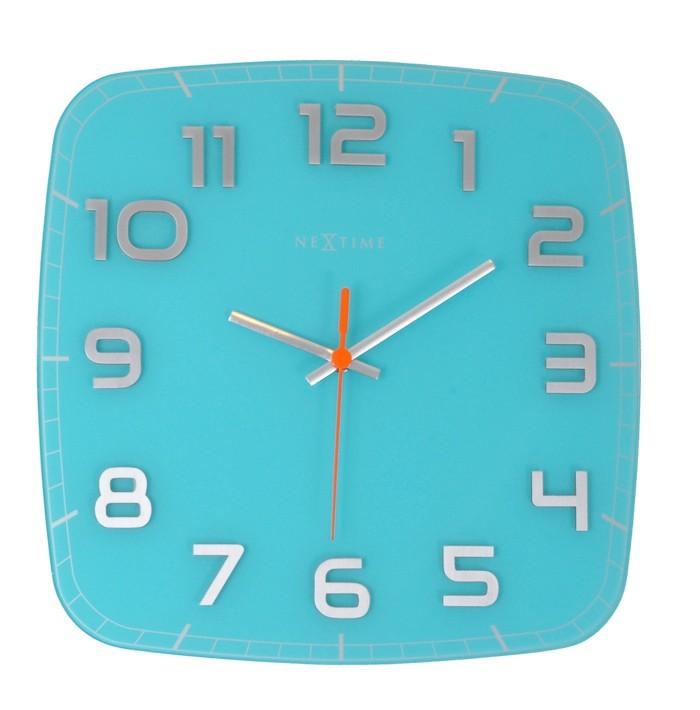 Classy Square - hodiny, nástěnné, hranaté (sklo, nerez, bílé)