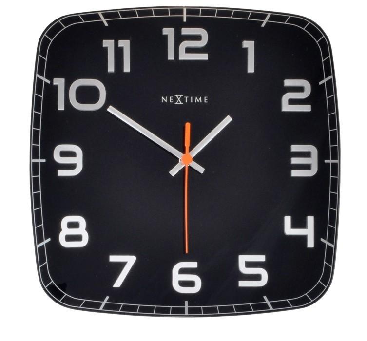 Classy Square - hodiny, nástěnné, hranaté (sklo, nerez, černé)