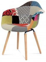 Color - Jídelní židle s područkami CT-723 (patchwork/masiv buk)