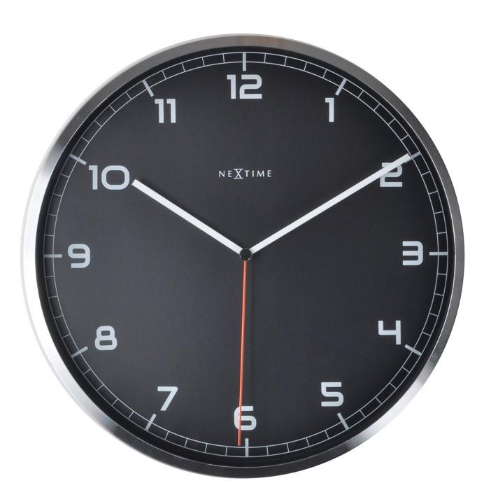 Company number - hodiny, nástěnné, kulaté (kov, sklo, černé)