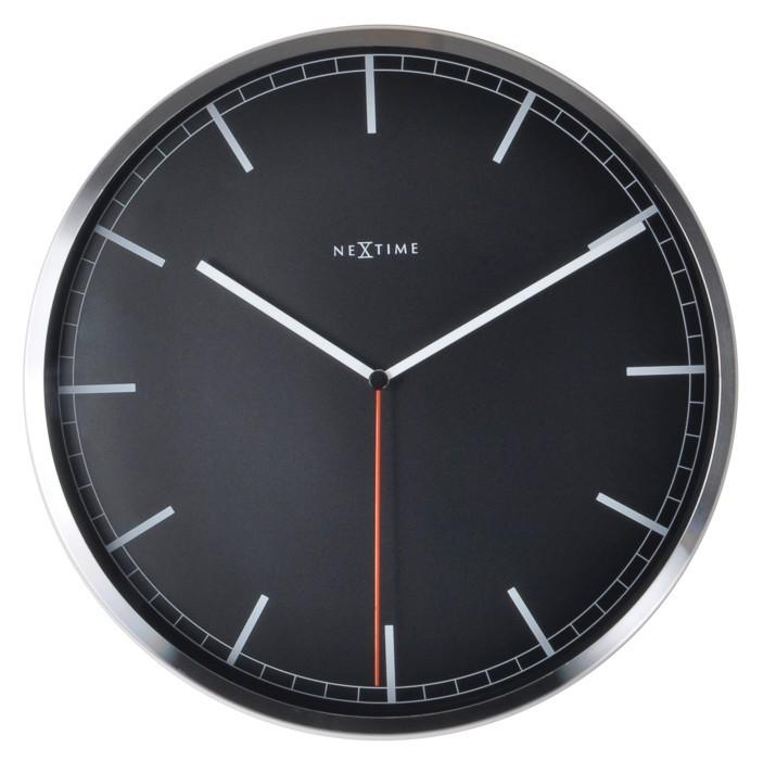 Company stripe - hodiny, nástěnné, kulaté (kov, sklo, černé)