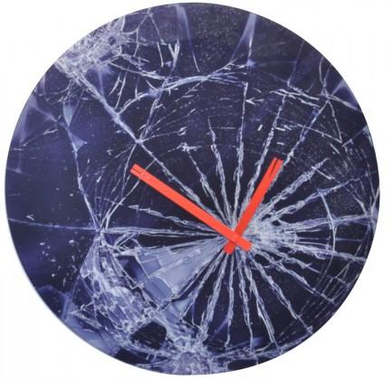 Crash - hodiny, nástěnné, kulaté (sklo, černé)