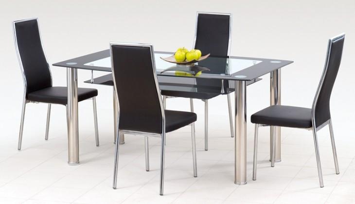 Cristal - Jídelní stůl, ocel/sklo čiré/sklo černé