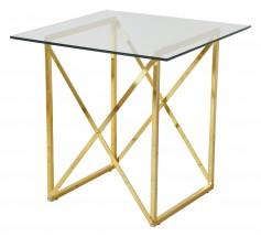 Cross - Konferenční stolek, čtverec (lesklé sklo, mosazné nohy)