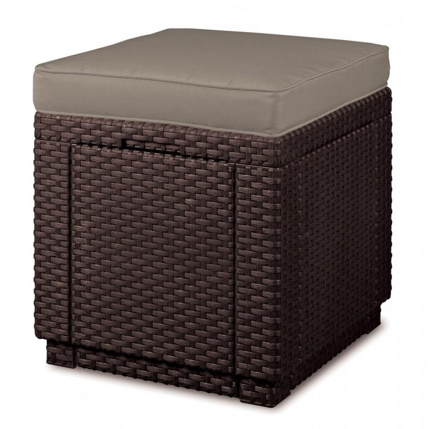 Cube - Taburet s úložným prostorem (hnědá, béžová)