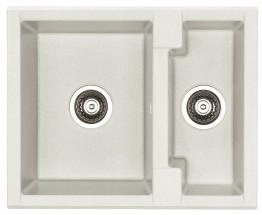 Cubo 20 - Dřez, včetně sifonu, 1 a půl vaničky (granit, bílá)