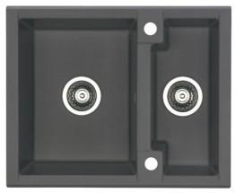 Cubo 20 - Dřez, včetně sifonu, 1 a půl vaničky (granit, černá)