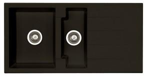 Cubo 70 - Dřez, včetně sifonu, 1 a půl vaničky (granit, černá)