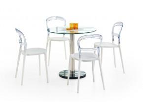 Cyryl - Jídelní stůl 80 cm (čirá, stříbrná)