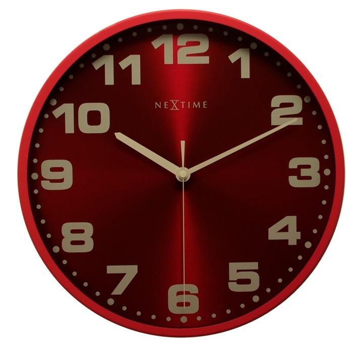 Dash - hodiny, nástěnné, kulaté (kov, sklo, červené)