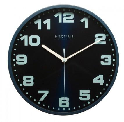 Dash - hodiny, nástěnné, kulaté (kov, sklo, modré)