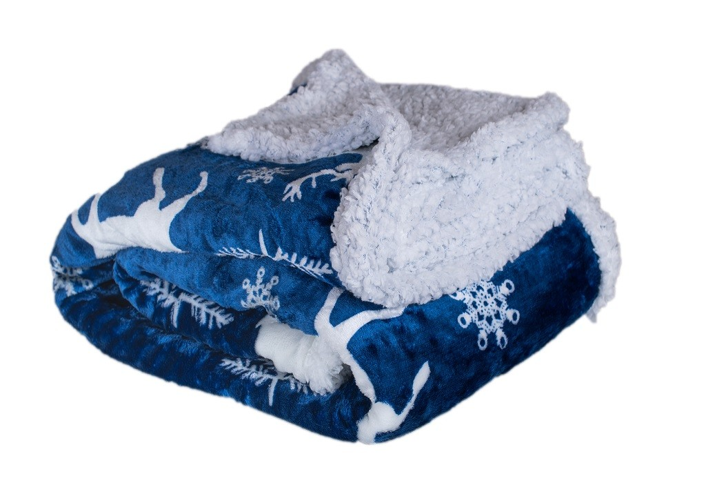 Deky Deka s beránkem DB10 (150x200 cm, modrá, vánoce)