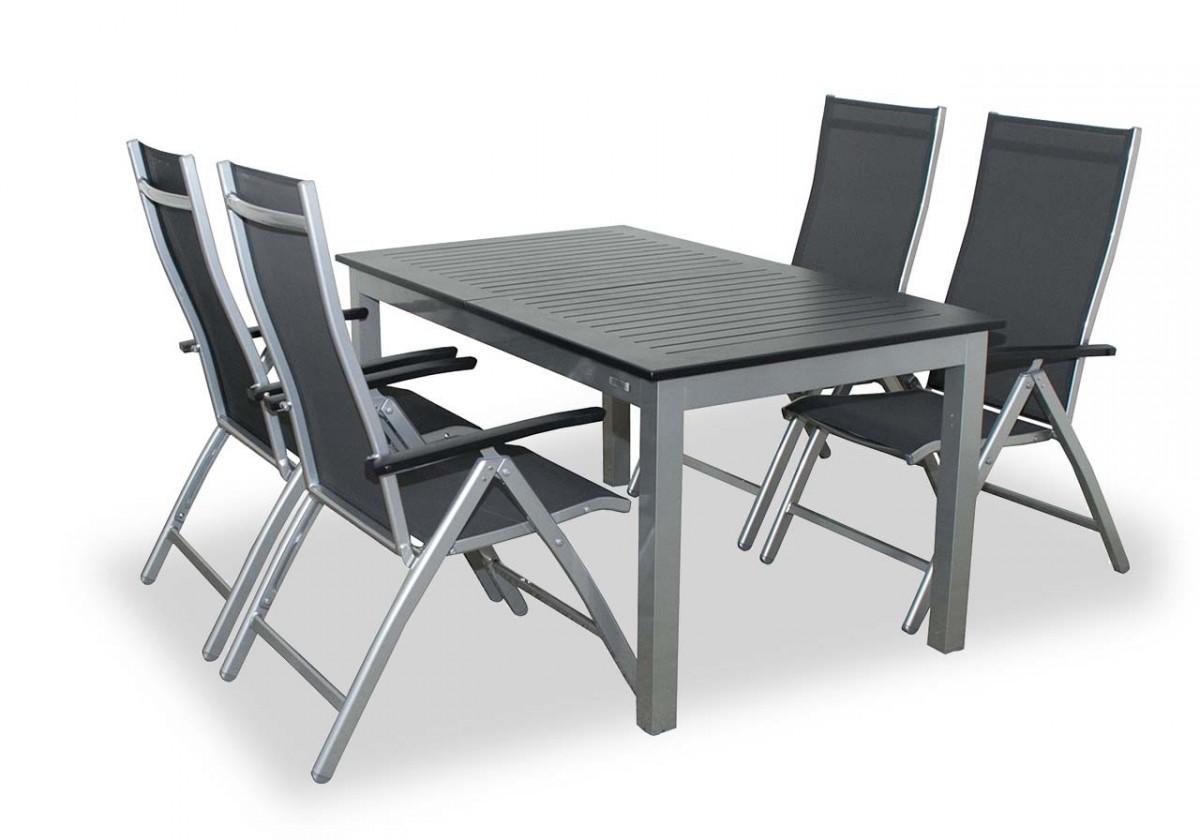 Detroit - Set stůl, 4x polohovatelné křeslo (stříbrá, antracit)