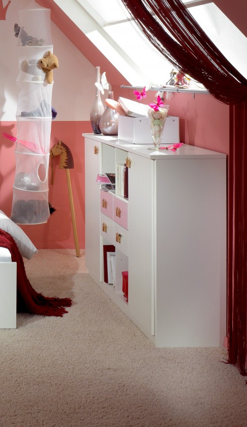 Dětská komoda Cinderella - Skříňka (bílá, růžová)