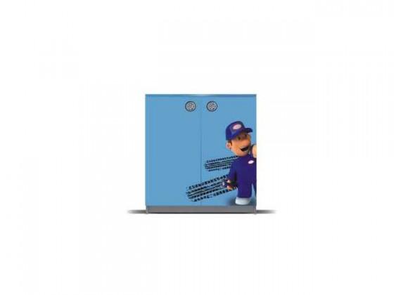 Dětská komoda Junior mechanik - Komoda (šedá/modrá, 2x dveře)