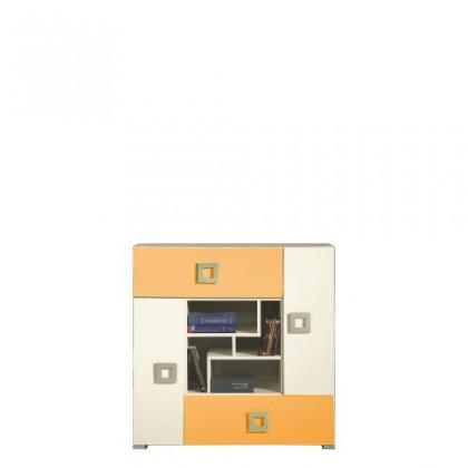 Dětská komoda LABYRINT LA 7 (krémová/oranžová)