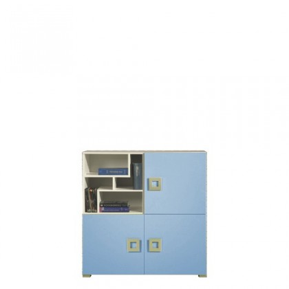 Dětská komoda LABYRINT LA 8 (krémová/modrá)