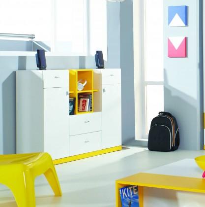 Dětská komoda MOBI MO 10 (bílá lesk/žlutá)