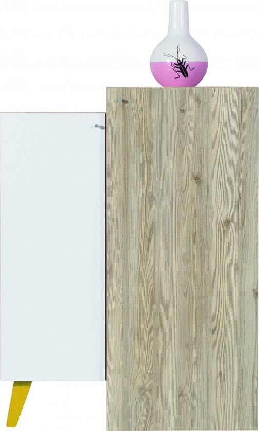 Dětská komoda SAJMON SJ 11 L/P + 8 (modřín/bílá lesk/žlutá)