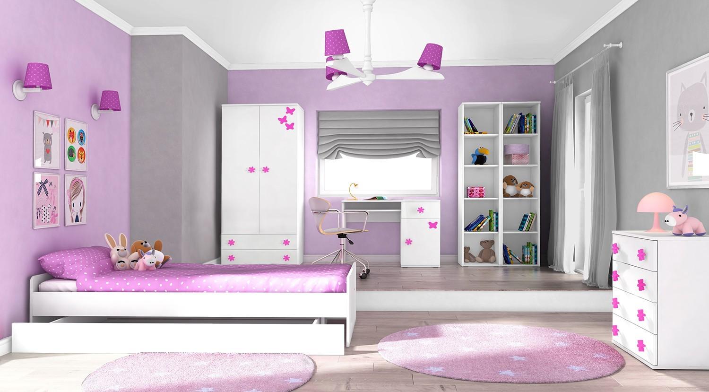 Dětská komoda Simba 10(korpus bílá/front bílá a růžový motýlek)