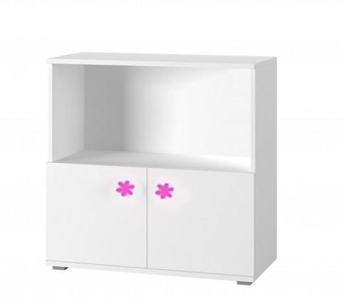 Dětská komoda Simba 11(korpus bílá/front bílá a růžový motýlek)