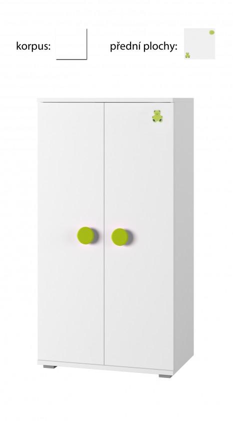 Dětská komoda Simba 8(korpus bílá/front bílá a zelený medvídek)