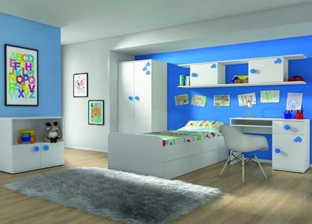 Dětská komoda Simba 9(korpus bílá/front bílá a modré autíčko)