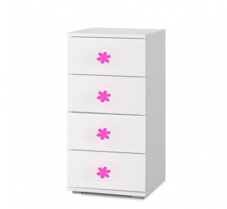 Dětská komoda Simba 9(korpus bílá/front bílá a růžový motýlek)