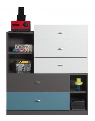 Dětská komoda Tablo - komoda, 5x zásuvka (grafit/bílá, lesk/atlantic)