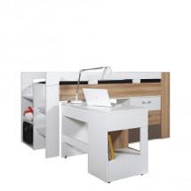 Dětská postel BLOG BL 19  - zvýšená (jilm/bílá lesk/cappucino)