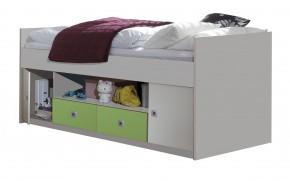 Dětská postel Sunny - zvýšená, úl. prostor (bílá/zelené jablko)