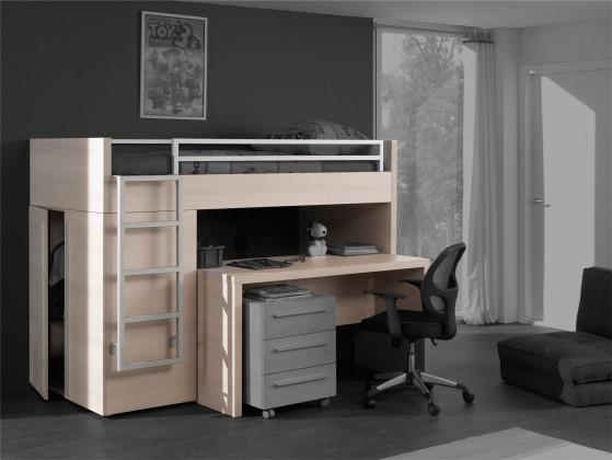 Dětská sestava Match - postel vysoká, stůl, šatní skříň (borovice carrizo)