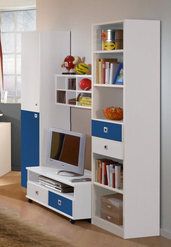 Dětská sestava Sunny - Obývací stěna (alpská bílá s modrou)
