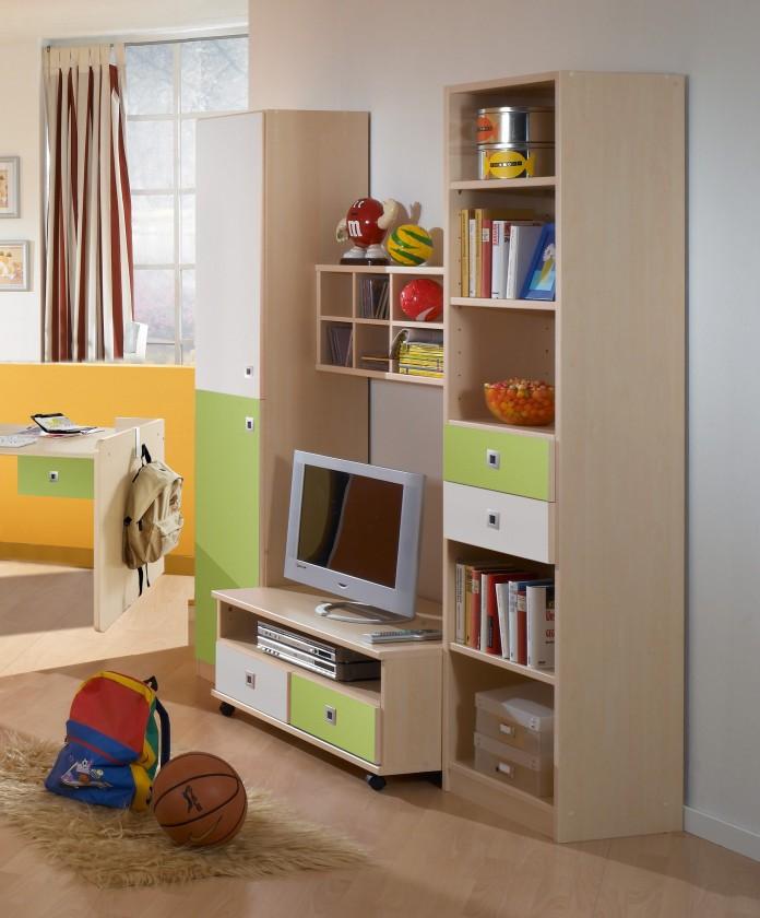 Dětská sestava Sunny - Obývací stěna (zelené jablko/alpská bílá)