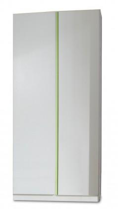 Dětská skříň Bibi - Skříň, dvoudveřová (alpská bílá, zelené jablko)