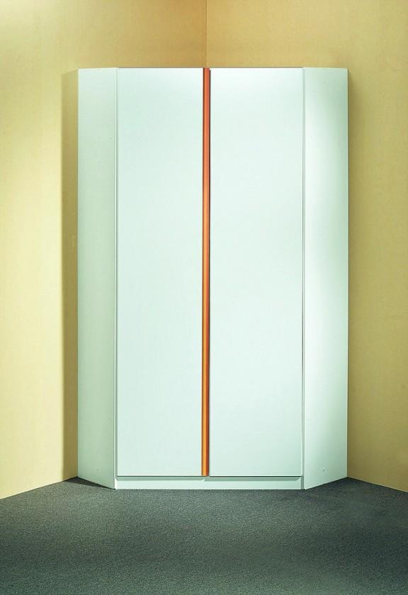 Dětská skříň Bibi - Skříň rohová (alpská bílá, oranžová)