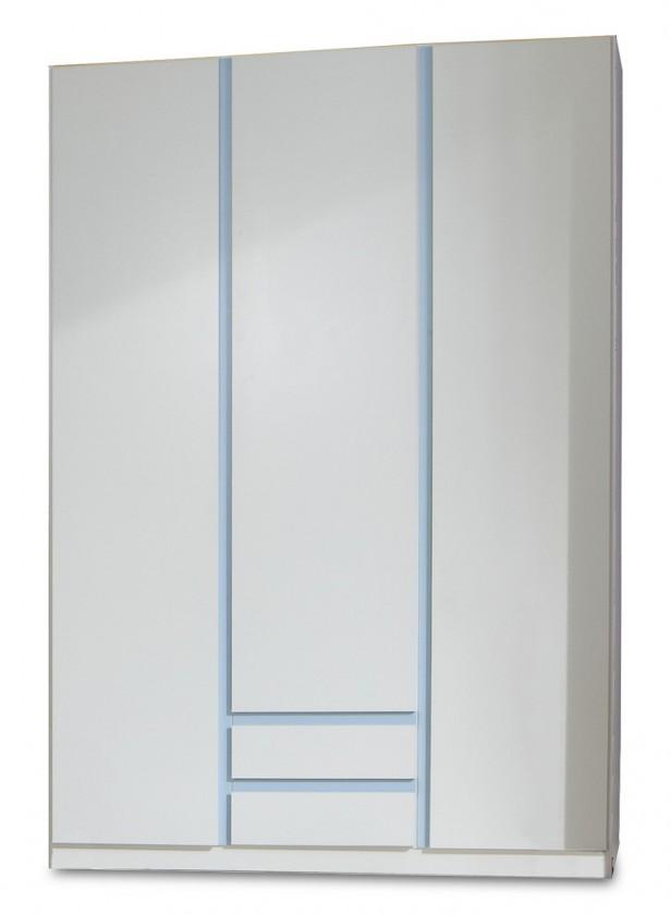 Dětská skříň Bibi - Skříň, třídveřová, se zásuvkou (alpská bílá, modrá)