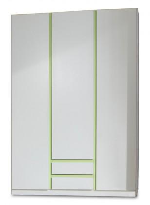 Dětská skříň Bibi - Skříň, třídveřová, zásuvka (alpská bílá, zelené jablko)