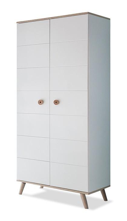 Dětská skříň Billund - Skříň šatní (alpská bílá, dub)